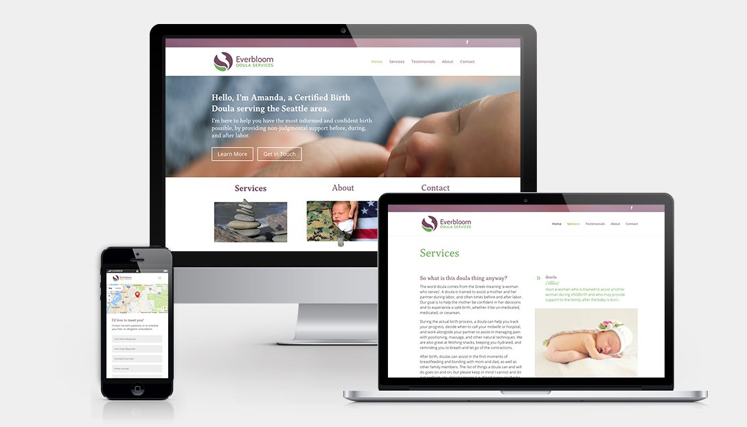 Everbloom Doula Responsive Website Design Layout