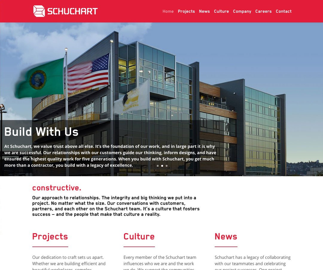 Schuchart website, new homepage on desktop