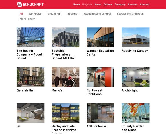 Schuchart website, new projects page